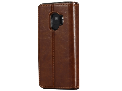 2-in-1 Synthetic Leather Wallet Case for Samsung Galaxy S9 - Brown Leather Wallet Case