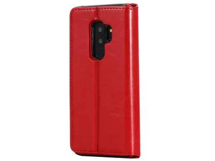 2-in-1 Synthetic Leather Wallet Case for Samsung Galaxy S9+ - Red Leather Wallet Case