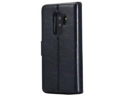 2-in-1 Synthetic Leather Wallet Case for Samsung Galaxy S9+ - Midnight Blue Leather Wallet Case