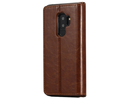 2-in-1 Synthetic Leather Wallet Case for Samsung Galaxy S9+ - Brown Leather Wallet Case