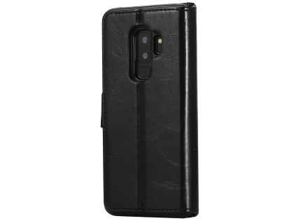 2-in-1 Synthetic Leather Wallet Case for Samsung Galaxy S9+ - Black Leather Wallet Case