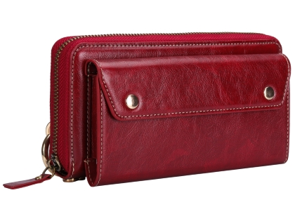 Wallet/Purse with Mobile Pouch - Red Leather Slide-in Case
