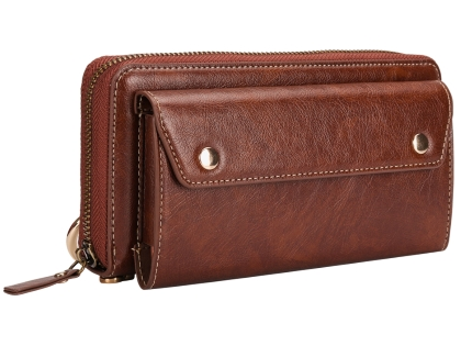 Wallet/Purse with Mobile Pouch - Brown Leather Wallet Case