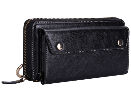 Wallet/Purse with Mobile Pouch - Black Leather Slide-in Case