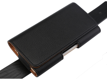 Textured Synthetic Leather Belt Pouch - Naked Mobile Only - Black