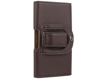 Textured Synthetic Leather Belt Pouch - Naked Mobile Only - Brown Belt Pouch