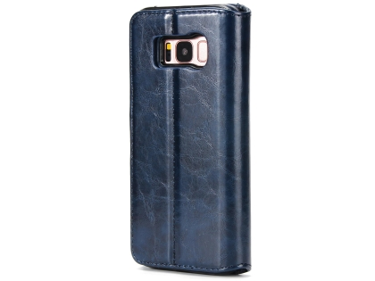 2-in-1 Synthetic Leather Wallet Case for Samsung Galaxy S8+ - Midnight Blue Leather Wallet Case