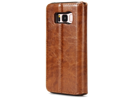 2-in-1 Synthetic Leather Wallet Case for Samsung Galaxy S8+ - Brown Leather Wallet Case