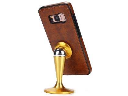 2-in-1 Synthetic Leather Wallet Case for Samsung Galaxy S8+ - Brown