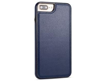 Synthetic Leather Back Cover for iPhone 8 Plus/7 Plus - Midnight Blue Leather Case