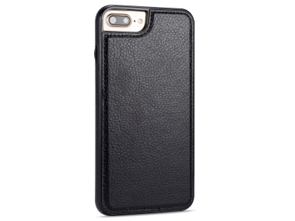 Synthetic Leather Back Cover for iPhone 8 Plus/7 Plus - Black Leather Case