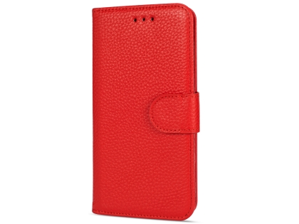 Premium Leather Wallet Case for Google Pixel 3  - Red Leather Wallet Case