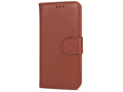 Premium Leather Wallet Case for Google Pixel 3  - Brown Leather Wallet Case