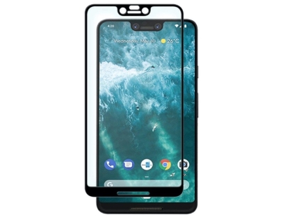 Curved Glass Screen Protector with Full Adhesive for Google Pixel 3XL - Black/Clear Screen Protector