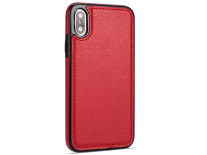 Synthetic Leather Back Cover for iPhone Xs/X - Red Leather Case