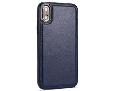 Synthetic Leather Back Cover for iPhone Xs/X - Midnight Blue Leather Case