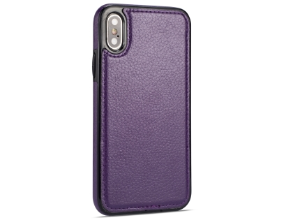 Synthetic Leather Back Cover for iPhone Xs/X - Purple Leather Case
