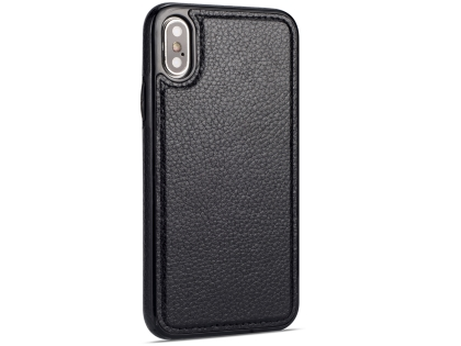 Synthetic Leather Back Cover for iPhone Xs/X - Black Leather Case