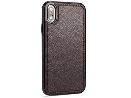 Synthetic Leather Back Cover for iPhone Xs/X - Brown Leather Case