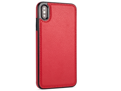 Synthetic Leather Back Cover for iPhone Xs Max - Red Leather Case