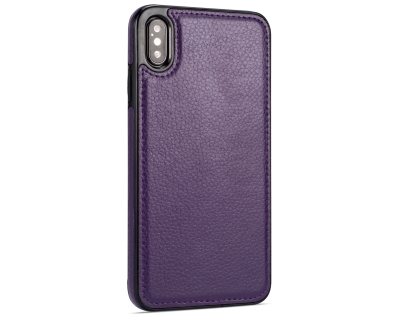 Synthetic Leather Back Cover for iPhone Xs Max - Purple Leather Case