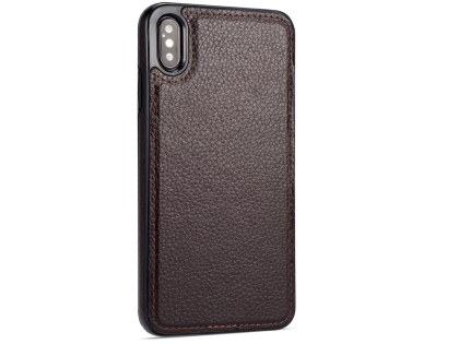 Synthetic Leather Back Cover for iPhone Xs Max - Brown Leather Case
