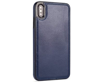 Synthetic Leather Back Cover for iPhone Xs Max - Midnight Blue