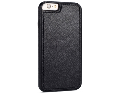 Synthetic Leather Back Cover for iPhone 6s Plus/6 Plus - Black Hard Case