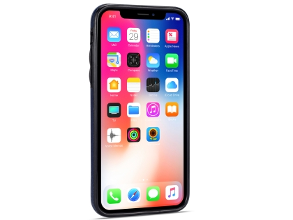 Synthetic Leather Back Cover for iPhone Xs/X - Midnight Blue