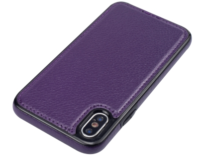 Synthetic Leather Back Cover for iPhone Xs/X - Purple