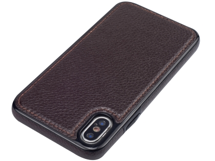 Synthetic Leather Back Cover for iPhone Xs/X - Brown
