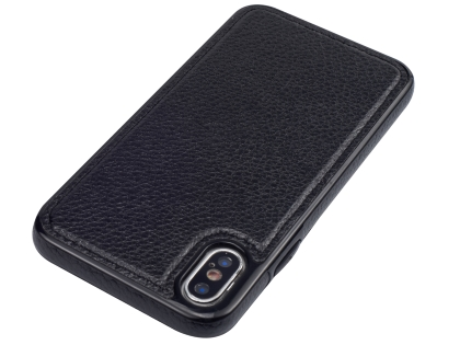 Synthetic Leather Back Cover for iPhone Xs/X - Black