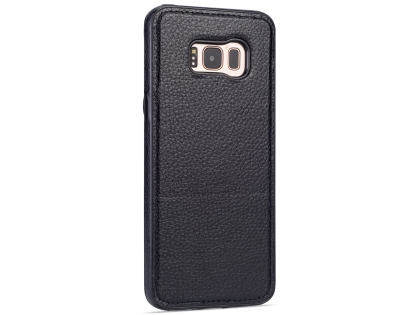 Synthetic Leather Back Cover for Samsung Galaxy S8+ - Black Leather Case