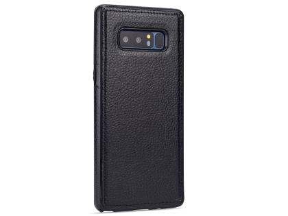 Synthetic Leather Back Cover for Samsung Galaxy Note8 - Black Leather Case