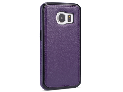 Synthetic Leather Back Cover for Samsung Galaxy S7 - Purple Leather Case