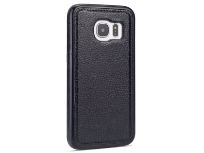 Synthetic Leather Back Cover for Samsung Galaxy S7 - Black Leather Case