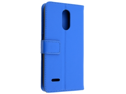 Synthetic Leather Wallet Case with Stand for LG K11+ - Blue Leather Wallet Case