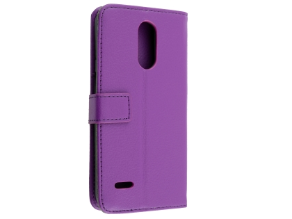 Synthetic Leather Wallet Case with Stand for LG K11+ - Purple Leather Wallet Case