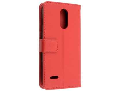 Synthetic Leather Wallet Case with Stand for LG K11+ - Red Leather Wallet Case