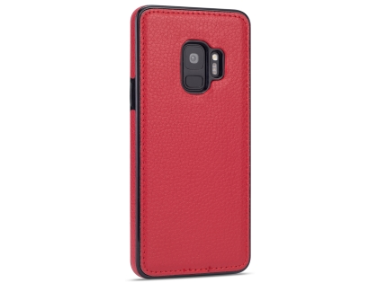 Synthetic Leather Back Cover for Samsung Galaxy S9 - Red Hard Case