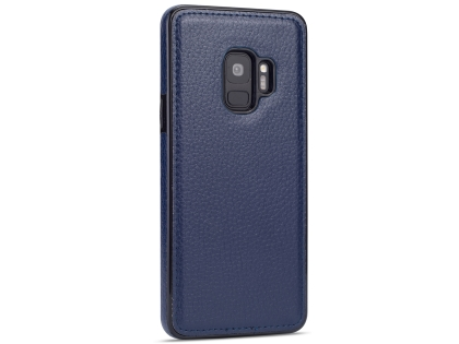 Synthetic Leather Back Cover for Samsung Galaxy S9 - Blue Hard Case