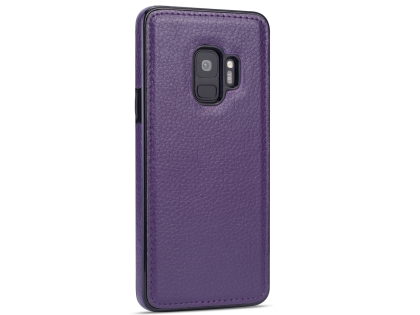 Synthetic Leather Back Cover for Samsung Galaxy S9 - Purple Hard Case