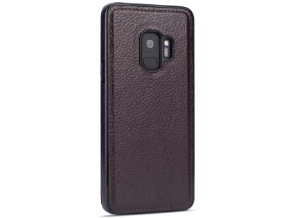 Synthetic Leather Back Cover for Samsung Galaxy S9 - Brown Leather Case