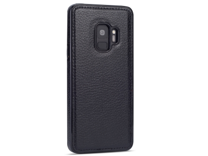 Synthetic Leather Back Cover for Samsung Galaxy S9 - Black Hard Case