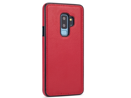 Synthetic Leather Back Cover for Samsung Galaxy S9+ - Red Leather Case