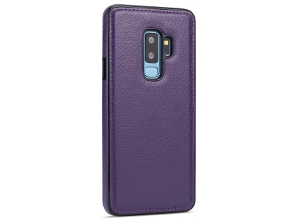 Synthetic Leather Back Cover for Samsung Galaxy S9+ - Purple Leather Case