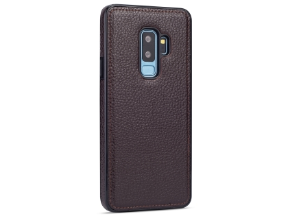 Synthetic Leather Back Cover for Samsung Galaxy S9+ - Brown Leather Case