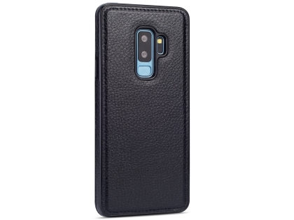 Synthetic Leather Back Cover for Samsung Galaxy S9+ - Black Leather Case