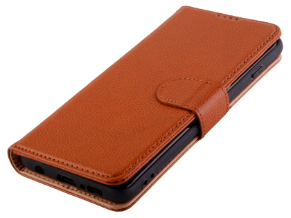 Premium Leather Wallet Case for Samsung Galaxy S10 - Caramel