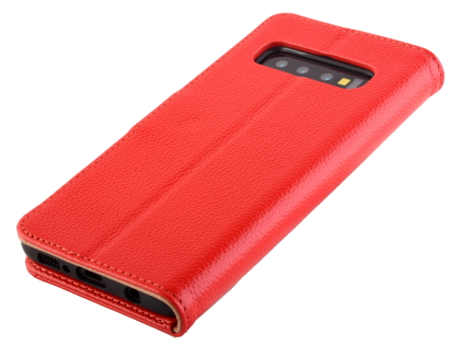 Premium Leather Wallet Case for Samsung Galaxy S10+ - Red Leather Wallet Case